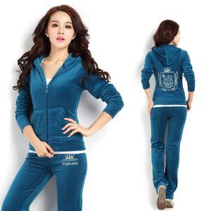 Women sports suit zip-up sweatshirt pant velvet tracksuit female runnung sports jogging casual leisure set sweatsuit two piece