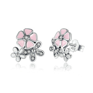 Wholesale cherry blossom earrings for sale - Group buy Luxury Sterling Silver Poetic Daisy Cherry Blossom Drop Earrings Clear Pink CZ Flower Women Engagement Studs For women Fashion Jewelry
