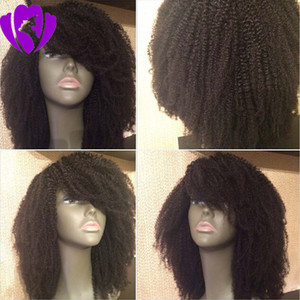 Wholesale heat resistant curly white wig resale online - New style afro wig kinky curly hair black white colors lace front wig synthetic hair Heat Resistant Halloween short wig with bangs