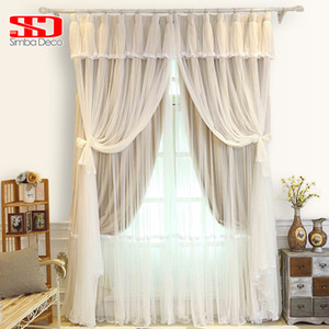 Korean Tassels Voile+Cloth Curtains For Bedroom Living Room Blinds Sheer Veil Blackout Liner Window Tulle Curtains Shading 90% on Sale