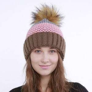 Wholesale Women autumn winter hat knitting h bonnet Fashion Heap caps Keep warm Plus cashmere multiple Colour Big hair ball Stitching