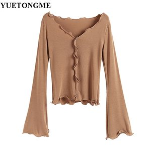 Wholesale YUETONGME autumn Korean new fashion women s clothes solid color flare sleeves long sleeved Lotus leaf lace hem T shirt HF37
