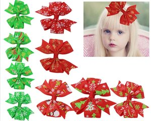 40pcs lot ribbon Flower bowknot hairpin christmas DIY craft supplies christmas bow christmas tree decoration new year decor