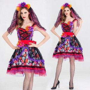 Wholesale 2019 Christmas New Theme Party Crimson Bride Zombie Skirt Flower Queen Costume Stage Performance Dress Up