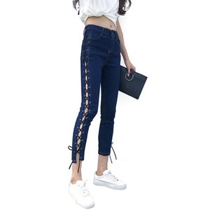 Wholesale Women Side Hollow Jeans Lace up Pants Tight Sexy Cross Bandage Pants Pencil Trousers Skinny Jeans Plus Size Black Blue ORHF