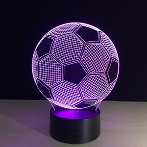 Wholesale 3D Lamp Visual Light Effect Soccer Pattern Touch Switch Remote Control Colors Changes Night Light Best Gift