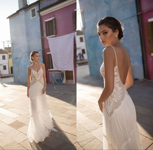 Wholesale Wedding Dresses Lace V Neck Bohemian Spaghetti Straps A Line Backless Sexy Summer Beach Bridal Gowns