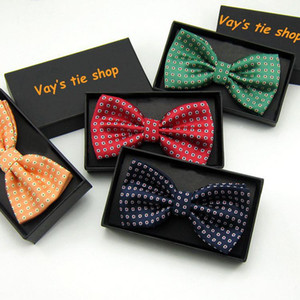 Wholesale New Mens Fashion Jacquard Floral Flower Dot Wedding Tuxedo Party Red Green Blue Bow Tie Casual Gravata Butterfly