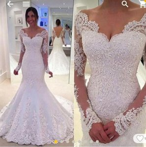 Wholesale 2019 Country Wedding Dresses Off the Shoulder Long Sleeves Mermaid Backless Bridal Gowns Lace Appliques Wedding Party Occasion