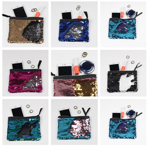 Wholesale Girls DIY Mermaid Bling Sequin Evening Clutch Bag Reversible Sequins Coin Wallet Purse Makeup Storage Bags Women Shopping Casual Tote A376