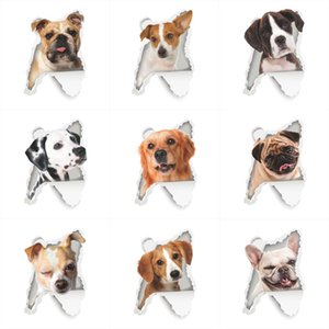 Wholesale view civid animal dogs wall stickers kids rooms bathroom toilet nursery home decor d hole wall decals waterproof poster art