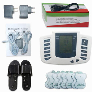 Electrical Stimulator Full Body Relax Muscle Digital Massager Pulse TENS Acupuncture with Therapy Slipper 16 Pcs Electrode Pads