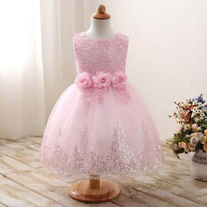 Wholesale Wedding Party Flower Girls Ball Gown Summer Lace Ruffle Princess Dress Fashion Rose Flower Sleeveless Girls Party Dress Tail Dress