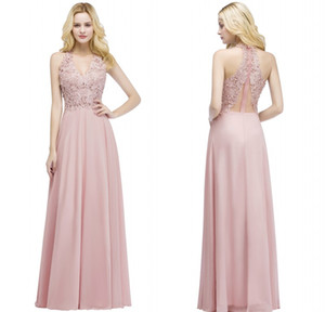 Wholesale 2018 New Designer Blush Pink Long Bridesmaid Dresses Halter Neck Lace Appliqued Pearls Cheap Prom Party Gowns CPS912