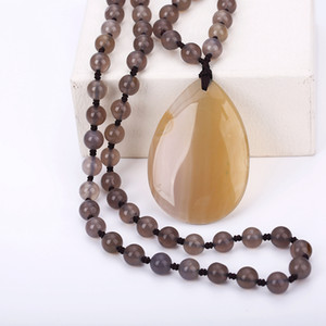 Wholesale 2018 Gift Crystal Agate Lapis Purple Crystal Carnelian Onyx Quartz Teardrop Pendant Beads Fine Sweater Chain Statement Necklace
