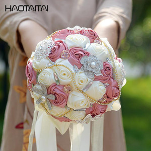 Wholesale Silk Wedding Flowers Rhinestone Jewelry Blush Pink Brooch Bouquet Gold Broach Bridal Wedding Dress Wedding Bouquet