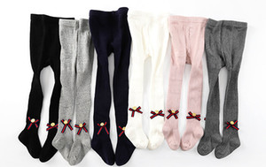 Wholesale Preppy Style kids legging girls vertical stripe knitted tights children stripe ribbon bows bee buttons cotton pantyhose girls bottoms A00692