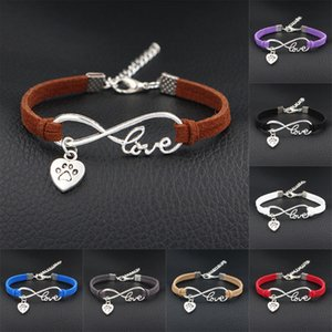 Wholesale 2018 Women Stylish Personalized Antique Silver Pets Dogs Lover Animal Dog claw print Charms Pendant Leather Infinity Love Bracelet