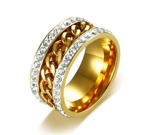 Wholesale Titanium Steel Ring High Quality Gold Color Crystal Rings Chain Decorated Stainless Steel Ring Rotatable US Size