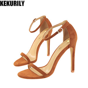 Wholesale Shoes Woman Summer High heel Sandals buckle Pumps flock Peep toe Slide casual Zapatos mujer Black red nude apricot brown