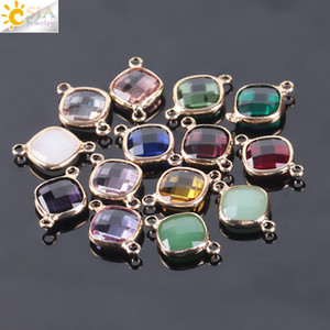 CSJA Small Size Murano Glass Crystal Beads Double Hole Faceted Loose Bead Connector Earring Bracelet Necklace Handcraft Jewelry Finding E966