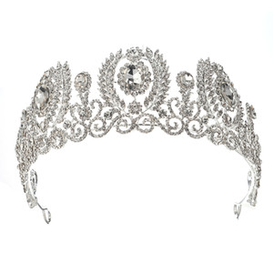 Big Wedding Crown For bride Tiara With earrings Rhinestone Bridal Headpiece Headband Pageant Hair ornaments diadem jewelry