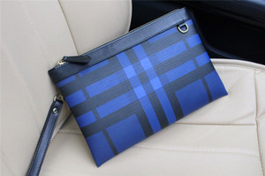 Wholesale New fashion designer men clutch bag plaid series Italy top leather clutch bag zipper square large wallet