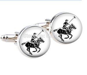 1 Pair wholesale Photo Cufflinks Polo Player and Horse cufflinks cuff links designer brand cufflink shirts high quality