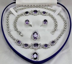 Wholesale Beautiful!Amethyst Inlay Link Bracelet earrings Ring Necklace Set