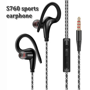 Wholesale New design S760 high quality inear handfree stereo sports real super bass earphone sweatproof music headset with microphone for samsung