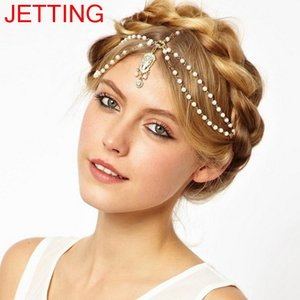 Wholesale Bride Hair Decoration Women tassel Headband Indian Boho Beaded Head Piece wedding Head Chain Hair jewelry