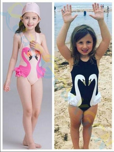 Wholesale penguin suits resale online - 2019 beach Girls Bikinis One Piece Swimsuits Baby Swimwear Children Bathing Suit Kids Swan Flamingos Penguin Monokini with cap