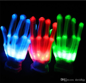 Wholesale Pair of Colorful LED Gloves Rave Light Finger Lighting Flashing Gloves Unisex skeleton Glove