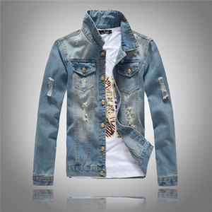 Wholesale Korean Slim Fit Jackets Mens Denim Clothing Outwear Holes Ripped Coats Biker Motorcycle Windbreak New Arrival Light Blue