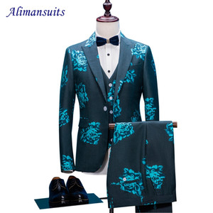 Wholesale New Prom Men Suit For Best Men Blue Floral Jacquard Wedding Suits Peaked Lapel pieces Korean Slim Fit Dress Jacket Pant