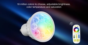 Wholesale Mi light AC85V V W GU10 RGB CCT LED Dimmable G Wireless WIFI Remote Milight Led Bulb Led Spotlight Smart Lamp Lights