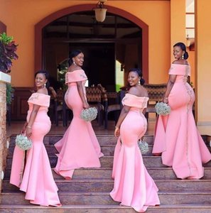 2019 New African Bridesmaid Dresses Pink Mermaid Off Shoulder Lace Appliques Side Split Satin Party Wedding Guest Dress Maid of Honor Gowns on Sale