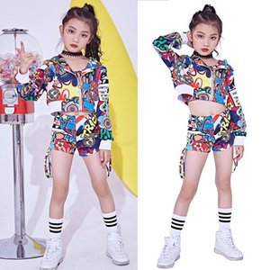 Girls Colorful Sequined Jazz Modern Dancing Costumes dress Kids Children's Hip Hop Dance wear Costumes Set Top+Pants Outfits