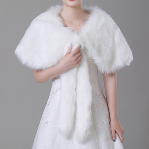 Wholesale Winter Ivory Imitation fur Bridal Wrap Shawl Coat Soft Warmer Shrug Cape Wrap Jacket Accessories For Wedding Party cpa1497