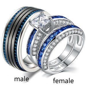 Wholesale Sz6-12 (TWO RINGS) Couple Rings His Hers White Gold Filled Zircon Women's Wedding Ring Sets Stainless Steel Mens Ring