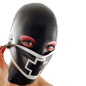 Wholesale Bodysuit Hot Hot Sexy Lingerie Women Latex Mask Cross Spliced Hoods Fetish Nurse Pull through Open Eyes Plus Size