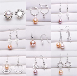 Pearl Earrings Settings 925 Sliver Stud Earring 16 Styles DIY Pearl Earring Jewelry Settings Suitable for Pearl 6mm and Above Christmas Gift