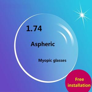2018 Ultra Thin Cheap 1.74 Eyeglasses Lenses Aspherical Resin Green Coating Optical Lens Anti Radiation Myopia Prescription Customized