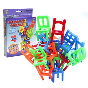Wholesale 18pcs set Balancing Toys Plastic Chairs Stacking Intelligence Multiplayer Balance Game Children Desk Play Game Toys for Kids Children Adults