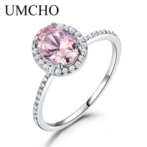 Wholesale pink sapphires rings resale online - UMCHO Sterling Silver Ring Oval Classic Pink Sapphire Rings For Women Engagement Wedding Party Gift Fine Jewelry New Y1890705