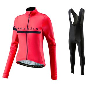 Morvelo 2018 Women Autumn Long Sleeve Cycling Jerseys bib pants Set Breathable Thin Ropa Ciclismo Riding Clothes Cycle Suit Wear