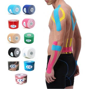 Wholesale Sports Kinesio Muscle Sticker Kinesiology Tape Cotton Elastic Adhesive Muscle Bandage Care Physio Strain Injury Support 5cm x 5m