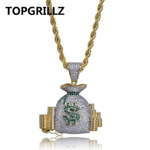 Wholesale TOPGRILLZ Money Bag Stack Iced Out Cash Coins Pendant Necklaces Copper Gold Color Cubic Zircon Hip Hop Men Charm Jewelry Gifts