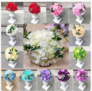 Wholesale 16 inch Artificial Rose Hydrangea Kissing Ball Wedding Road Cited Flower Roman Column Lead Bouquet T station Decoration Supplies