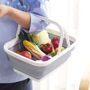 Wholesale Multi Function Foldable Plastic Hand Basket Bathing Room Cloth Storage Baskets Fruits Vegetable Snacks Container Hot Sale ym Z